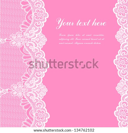 white lace on pink background and place for your text - stock vector