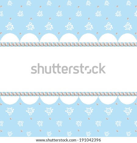 White lace pattern on blue background vintage