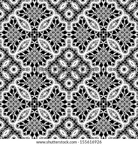 White lace texture on black, seamless pattern - stock vector