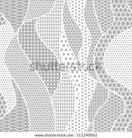 White lace vector fabric seamless pattern with lines and waves - stock vector
