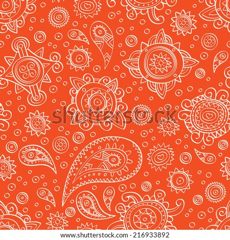 White lacy ornament on orange background. Vector. - stock vector