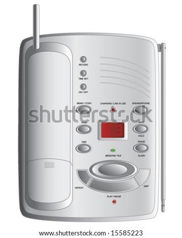 White landline telephone vector illustration - stock vector