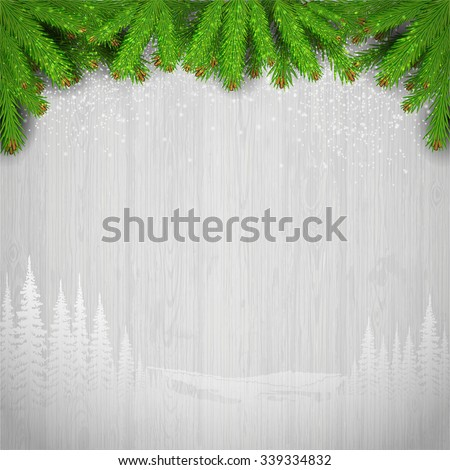 white landscape silhouette on vintage gray wood background with fir tree branch  - stock vector