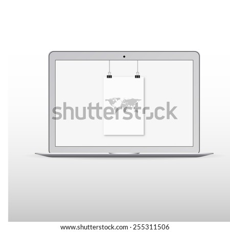 White laptop with hanging World map on screen. Vector illustration. - stock vector