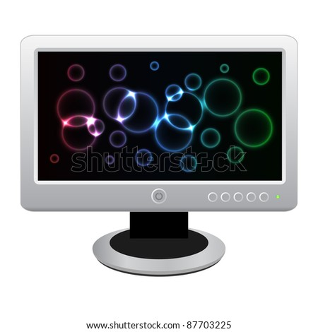 White LCD monitor with bright neon display isolated on a white background. Vector illustration. eps10 - stock vector