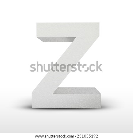 white letter Z isolated on white background