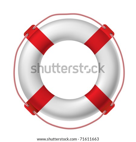 White life buoy, vector illustration.. Contain gradient mesh - stock vector