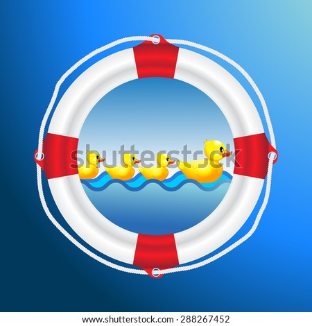 White life preserver lifebuoy with red stripes and ropewith yellow duck mother and her child little duck on sea water life save for family - stock vector
