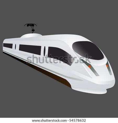 White locomotive on grey background, vector - stock vector
