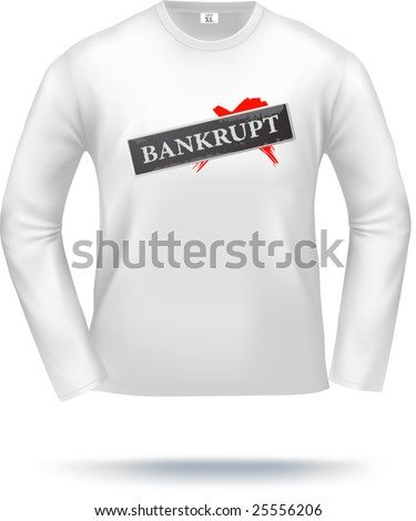White long-sleeved t-shirt template (vector, contains gradient mesh elements). Easy to put your own design! - stock vector