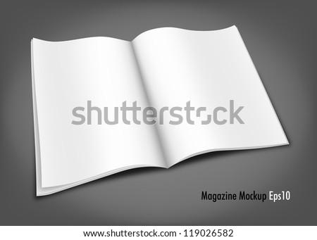 White Magazine Mockup Template - stock vector