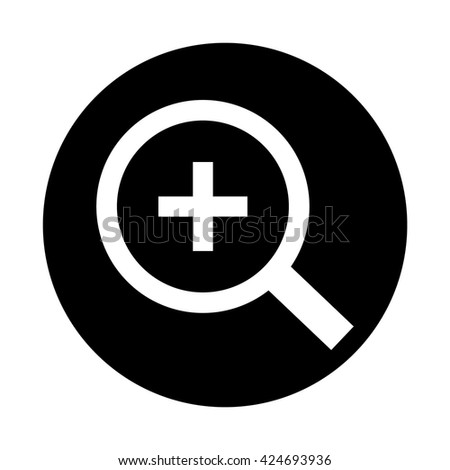 White Magnifying glass / loupe / Plus / + / zoom - in / icon . Black circle / button vector illustration - stock vector