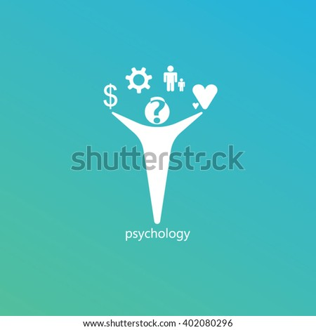 White man blue and green gradients background for psychology logo design - stock vector