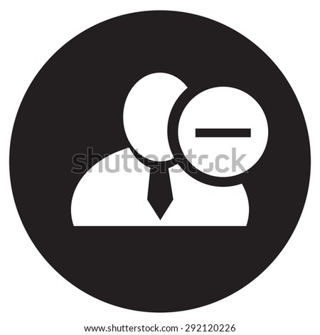 White man silhouette icon with minus sign in an information circle, flat design icon in black circle for forums or web - stock vector