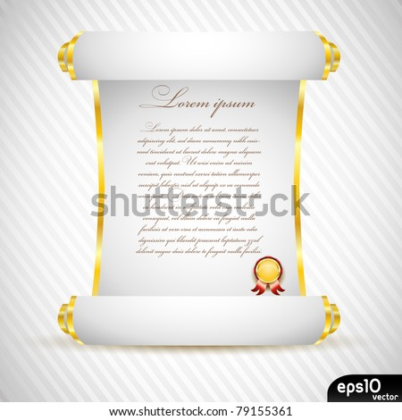 White manuscript with gold medal - stock vector