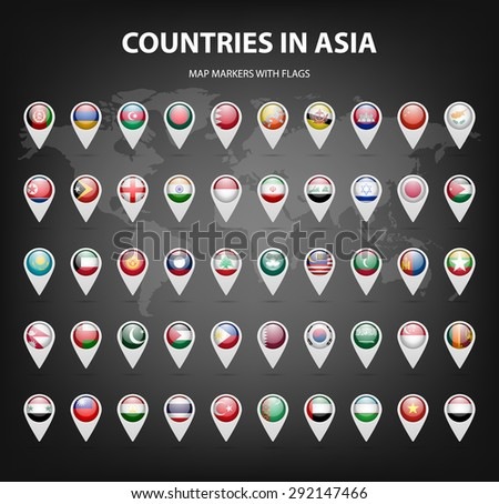 White map markers with flags - Asia.  Original colors. Vector EPS10 illustration. - stock vector