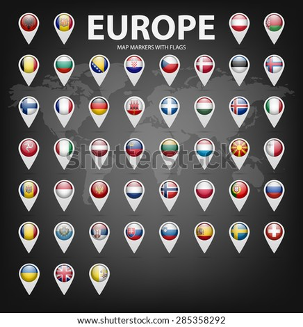 White map markers with flags - Europe. Original colors.  - stock vector