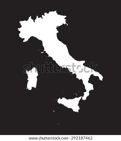 white map of Italy on black background - stock vector