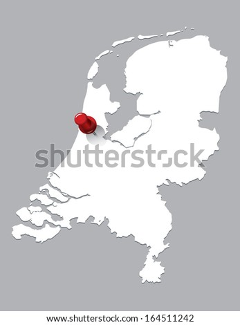 white map of Netherlands with red push pin - stock vector