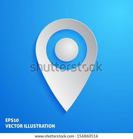 White marker icon on blue background. Vector illustration - stock vector