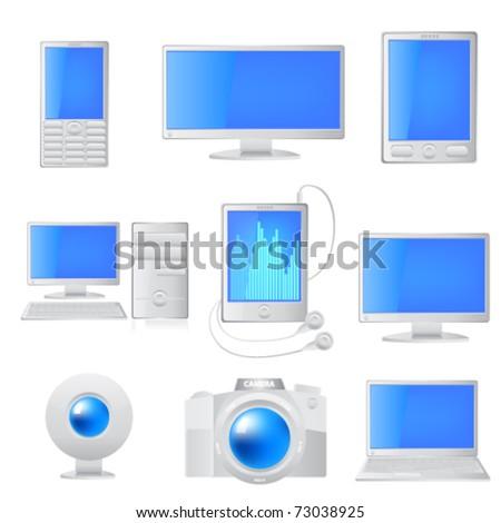 White media icon set. Vector - stock vector