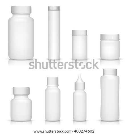 White medical containers set on white background - stock vector