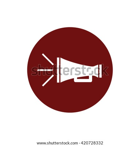 White megaphone icon vector illustration. Red circle. Red button - stock vector