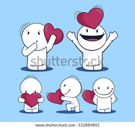 White men with hearts vector - stock vector