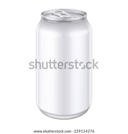 White Metal Aluminum Beverage Drink Can 330ml, 500ml. Mockup Template Ready For Your Design. Isolated On White Background. Product Packing. Vector EPS10 Product Packing Vector EPS10