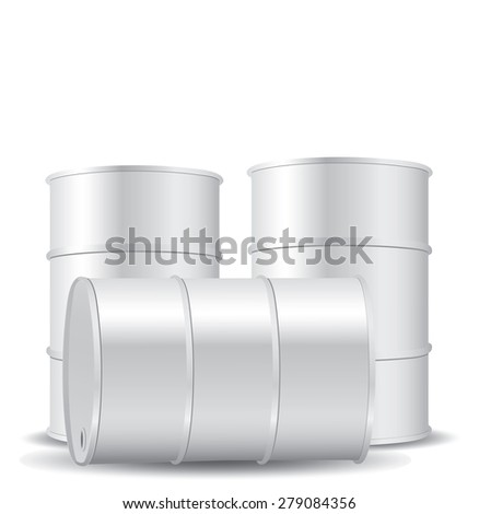 White metal barrel isolated on white - stock vector