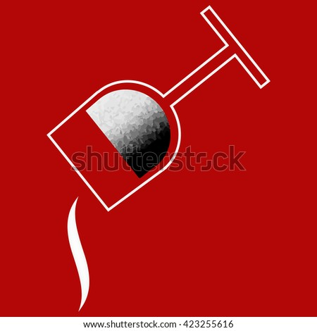 White minimalist flat glass to pour liquid on a red background. - stock vector