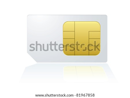 White mobile cell phone sim card with reflection in background - stock vector