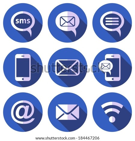White mobile sms and mail icons flat design - stock vector