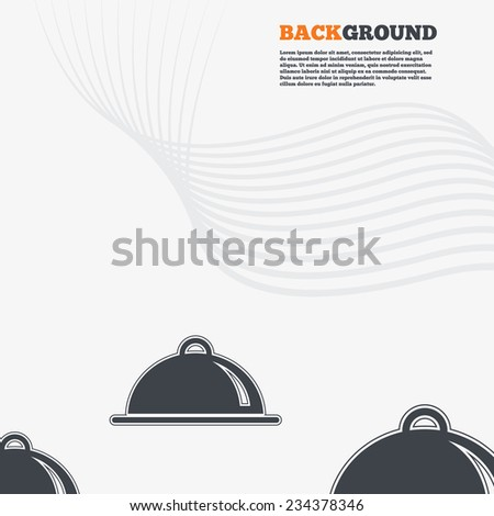 White modern background. Food platter serving sign icon. Table setting in restaurant symbol. Outline signs with curved lines. Vector - stock vector