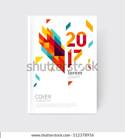 White modern business brochure, leaflet, flyer, cover template. Abstract diagonal background blue, purple, yellow, red and green lines and triangles.