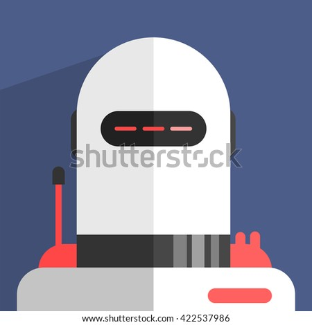 White Modern Design Robot Character Portrait Icon In Weird Graphic Flat Vector Style On Bright Color Background - stock vector