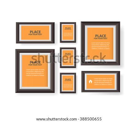 White Modern Frames On Wall Vector Stock Vector 388500655 - Shutterstock