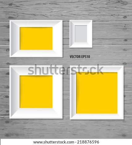 White modern frames on the wood wall, vector illustration. - stock vector
