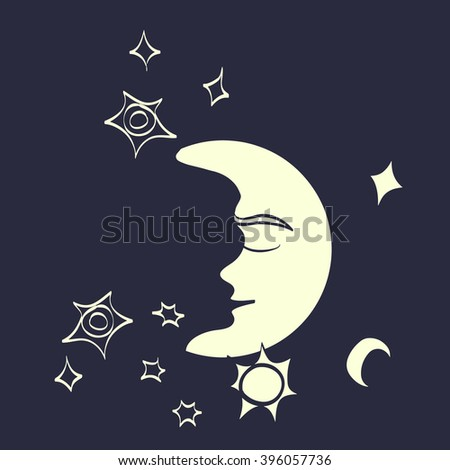 White Moon. Freehand drawing. Symbol of the night. Vector illustration.