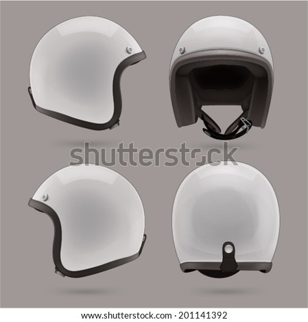 White motorbike classic helmet. Front, back and side view - stock vector