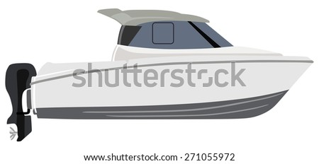 White motorboat on white background - stock vector