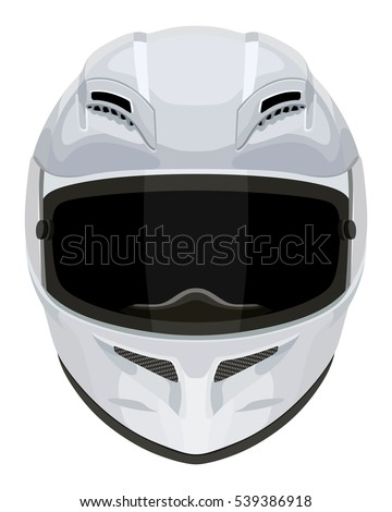 White Motorcycle Helmet On White Background Stock Vector ...