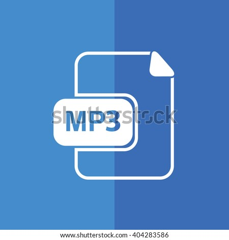 White MP3 vector icon. Blue background - stock vector