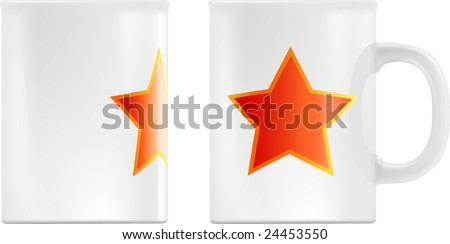 White mug design template (contains gradient mesh elements). Star can easily changed to your logo. - stock vector