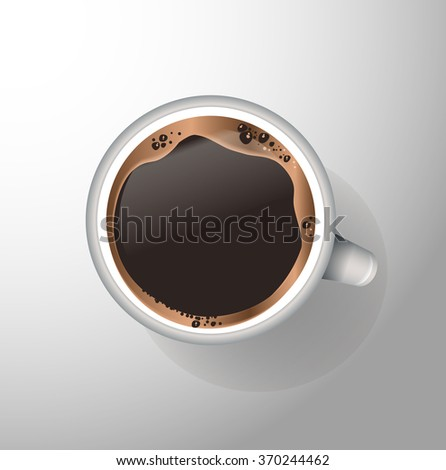 White mug of coffee with foam and sauce - stock vector
