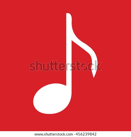 White music note icon vector. Red background - stock vector