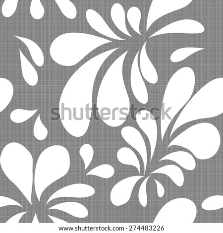 white natural floral seamless texture on a grey background - stock vector