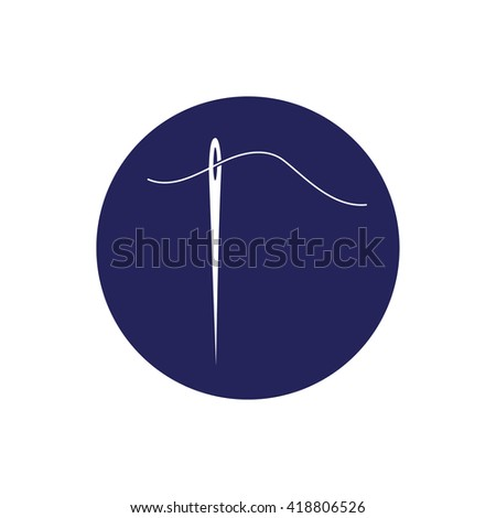 White needle and thread vector icon illustration. Blue circle. Blue button