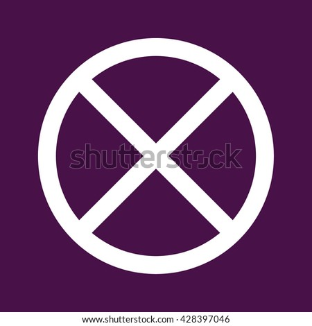 White no parking icon vector sign. Purple background - stock vector