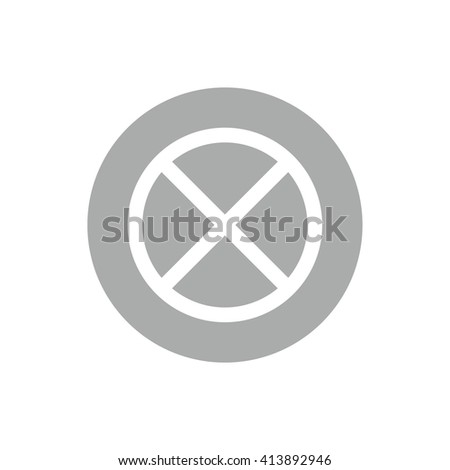 White no parking vector sign. Gray circle. Gray button - stock vector